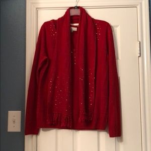 Red Embellished sweater with matching scarf, L